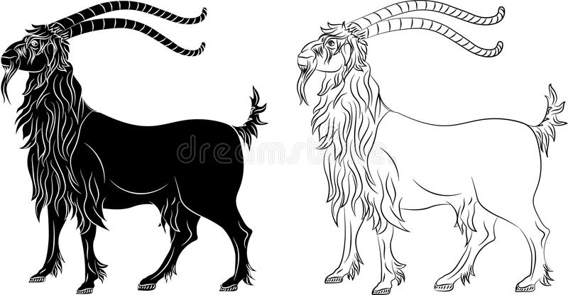 Cabra da cabra de montanha - silhueta e esboço pretos ilustração stock