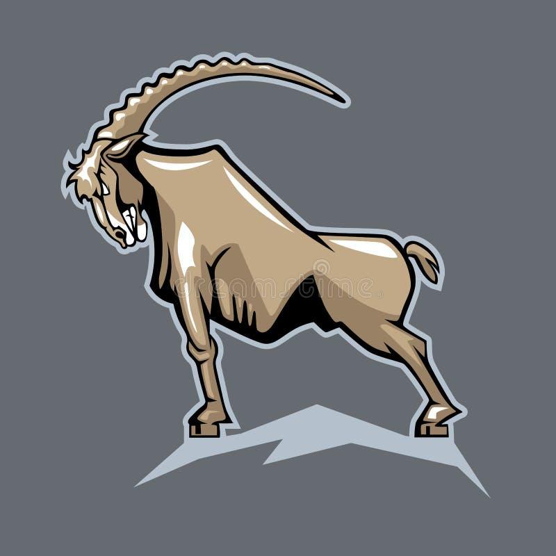 Cabra de montaña orgullosa Estilo de la historieta ilustración del vector