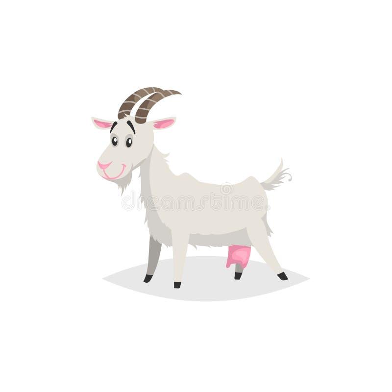 Cabra divertida linda Animal doméstico del estilo de la historieta de la granja de moda plana del diseño Ilustración del vector libre illustration