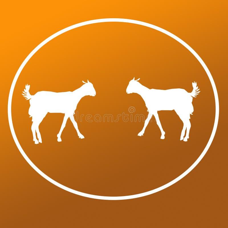Cabra doméstica Logo Background Icon Graphics do gado ilustração royalty free