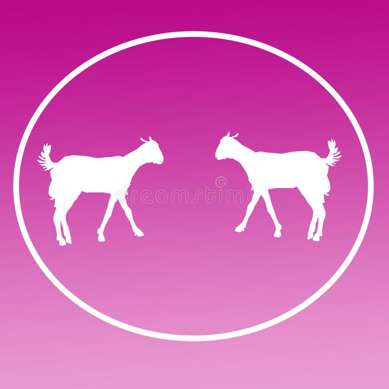 Cabra doméstica Logo Background Icon Graphics do gado ilustração stock