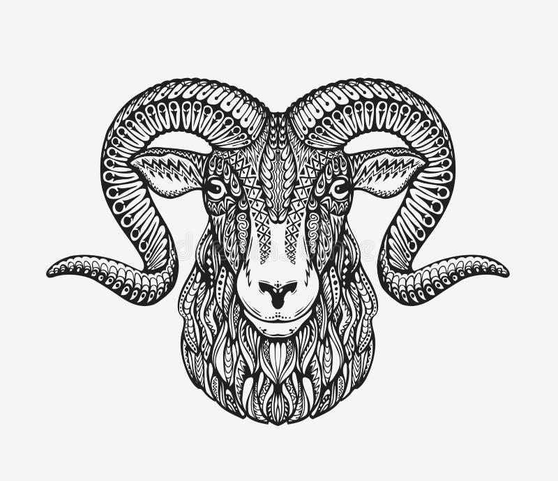 Cabra dos carneiros, da ram ou de montanha Animal decorado com testes padrões étnicos Ilustração do vetor ilustração stock
