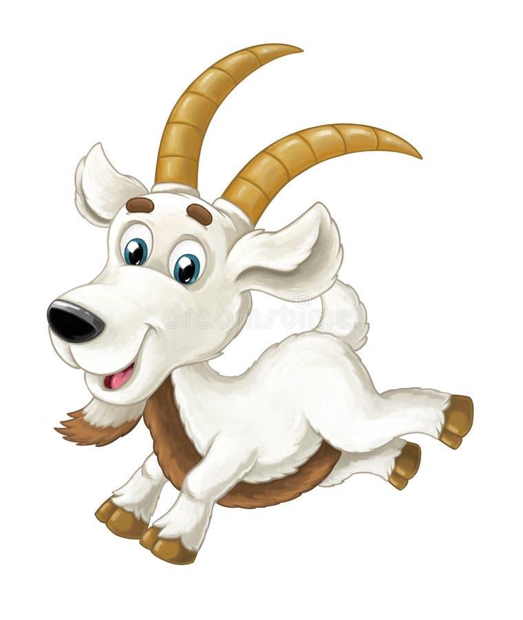 A cabra horned feliz dos desenhos animados está correndo a vista e o sorriso de salto - estilo artístico - isolado ilustração royalty free