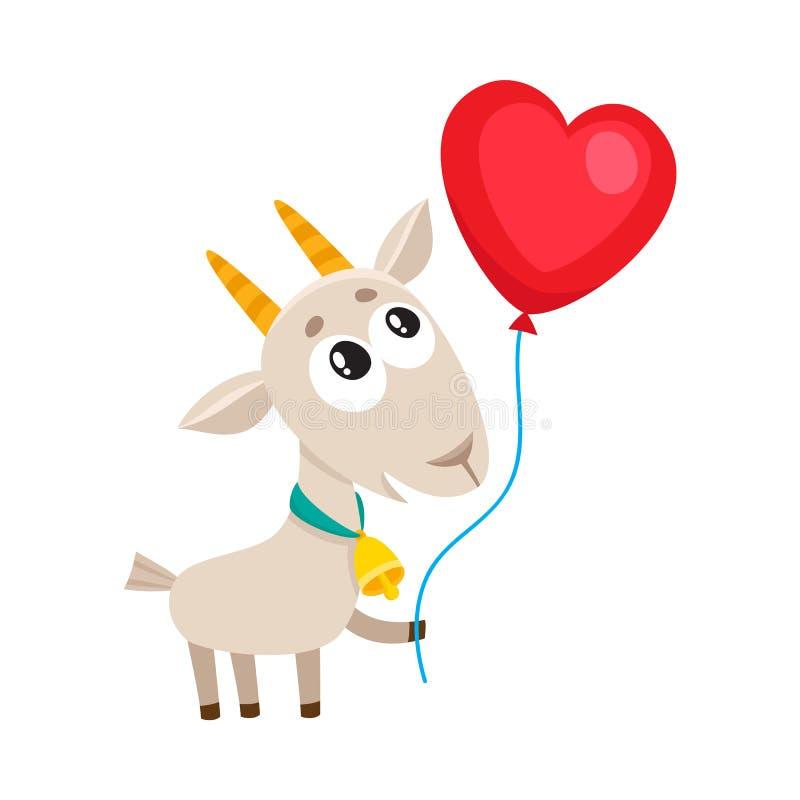 Cabra linda y divertida que sostiene el globo en forma de corazón rojo stock de ilustración