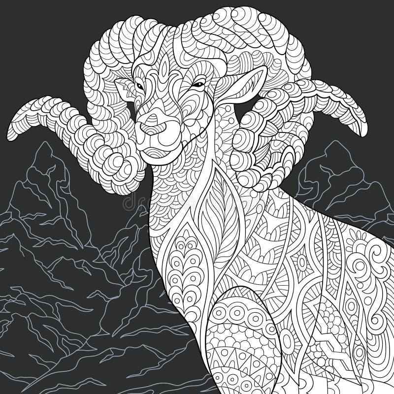 Cabra no estilo preto e branco ilustração royalty free