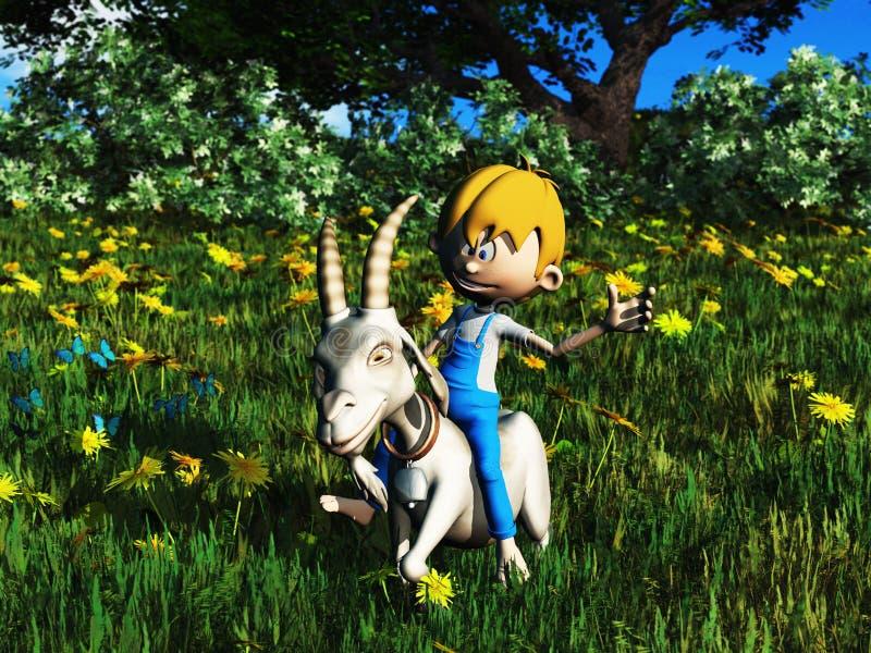 Cabra nova do animal de estimação da equitação do menino dos desenhos animados. fotografia de stock royalty free