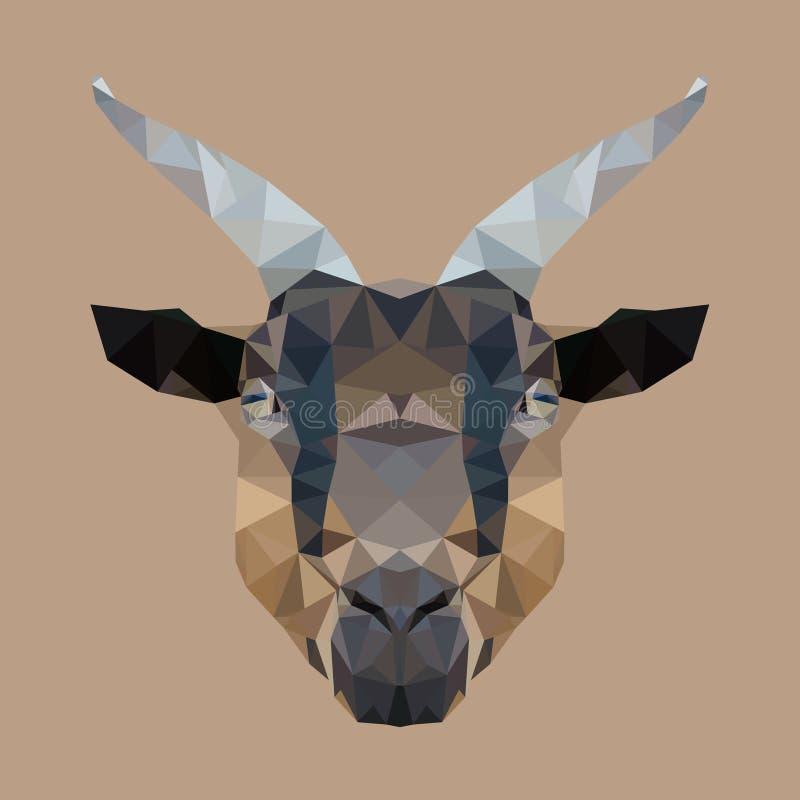 Cabra principal poligonal, animal geométrico del polígono, vector stock de ilustración