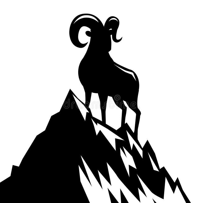 Cabra que está no ano novo chinês da silhueta 2015 da montanha ilustração stock