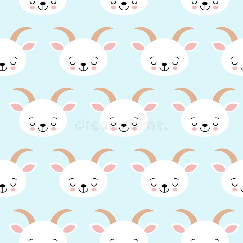 Cabra sem emenda fresca bonito da exploração agrícola de animais do bebê do teste padrão ilustração royalty free