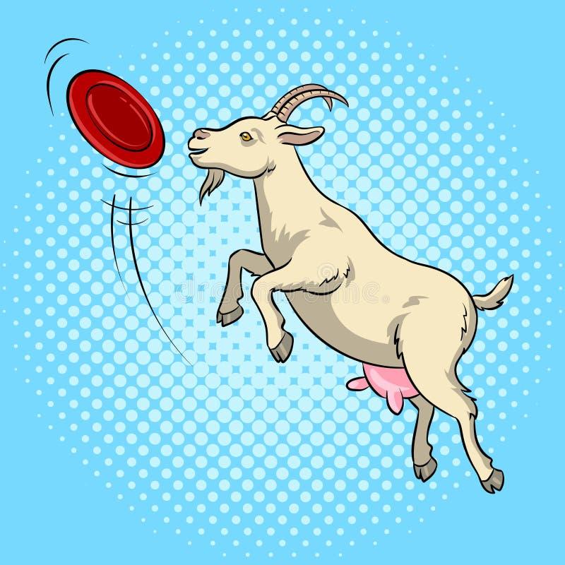 A cabra trava o vetor do pop art do disco do frisbee ilustração stock