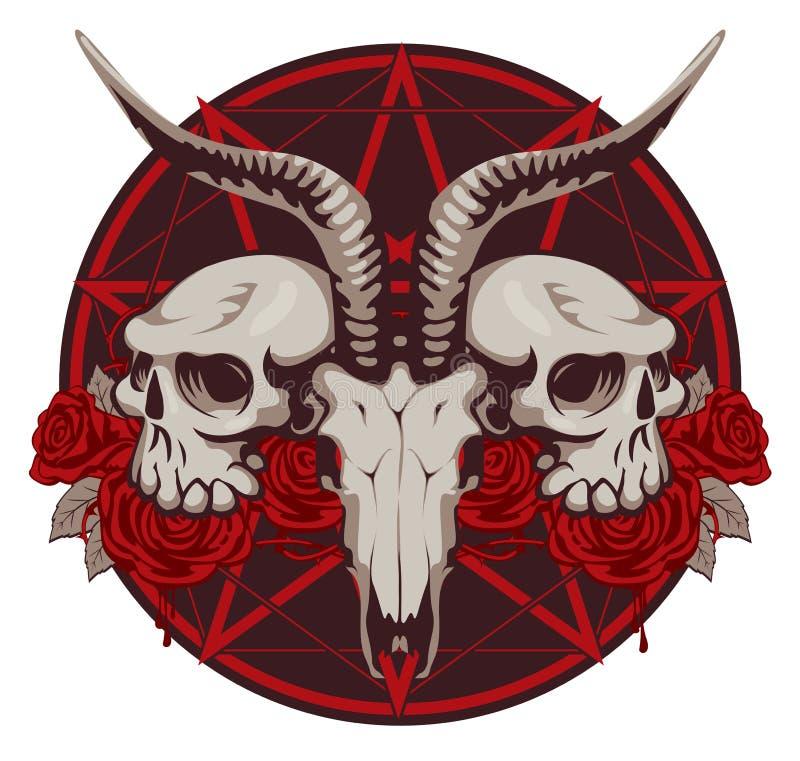 Cabra y cráneo y rosas del ser humano libre illustration