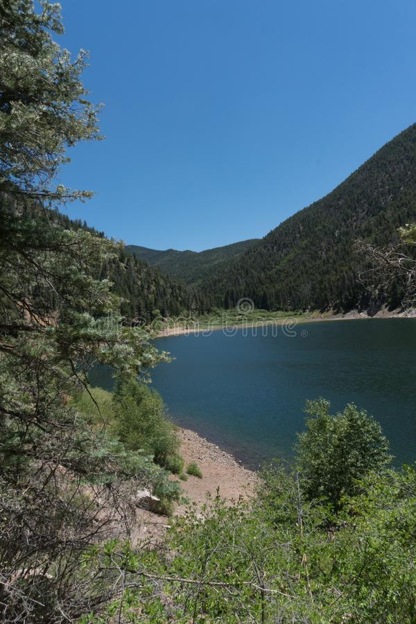 Vertical Cabresto lake in New Mexico. Cabresto lake,located in the Carson National Forest in northern New Mexico, provides recreation for many stock image