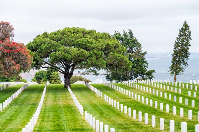 Cabrillo纪念驱动的,圣地亚哥公墓 免版税库存照片