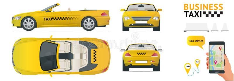 Cabrio samochodu taxi Przeniesienie, płaski wysokiej jakości miasto usługa transportu ikony set Buduje twój swój światową sieć in ilustracji