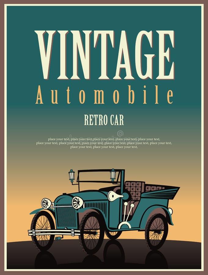 Cabriolé del coche del vintage stock de ilustración