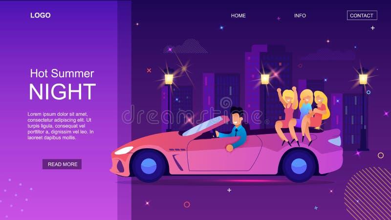 Cabriolet привода человека мультфильма с женщиной вечером бесплатная иллюстрация