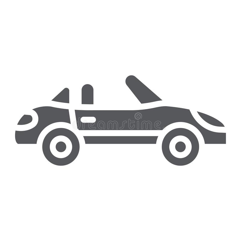 Cabriolet Glyphikone, Transport und Antrieb, Automobilzeichen, Vektorgrafik, ein festes Muster auf einem weißen Hintergrund stock abbildung