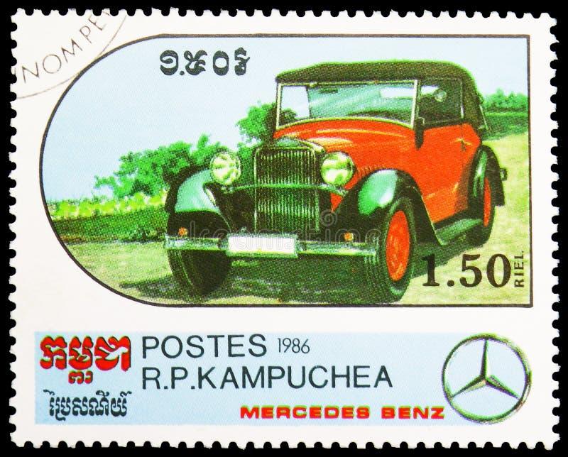 Cabriolet - 1932, Jahrhundert des Bewegungsmotor- Mercedes Benz Models-serie, circa 1986 lizenzfreie stockbilder