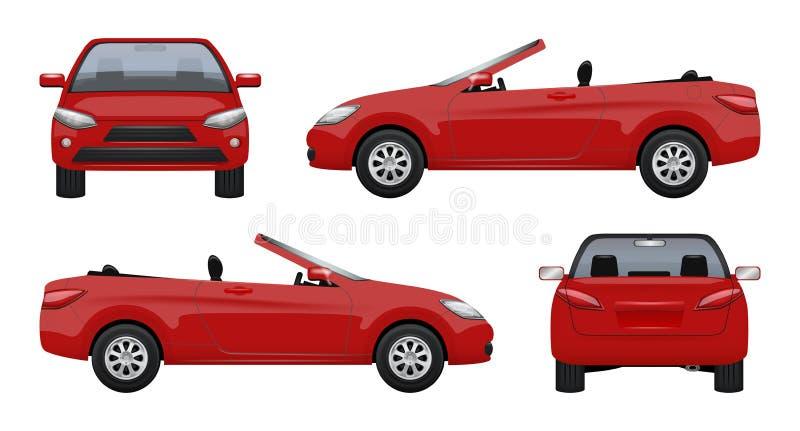 Cabrioletbil För sportbilaffär för lyxigt medel toppen taxi på realistiska bilder för vägvektor stock illustrationer
