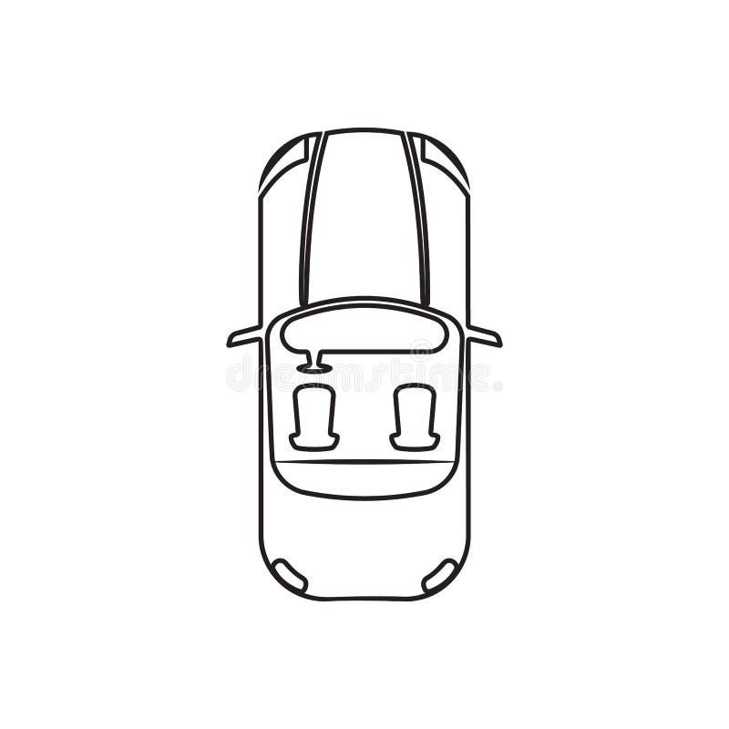 Cabrioletikone Element der Transportansicht von oben f?r bewegliches Konzept und Netz Appsikone Entwurf, d?nne Linie Ikone f?r We vektor abbildung