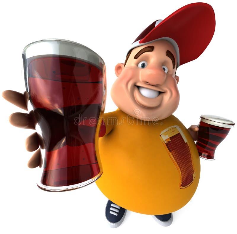 Cabrito gordo con las cervezas stock de ilustración