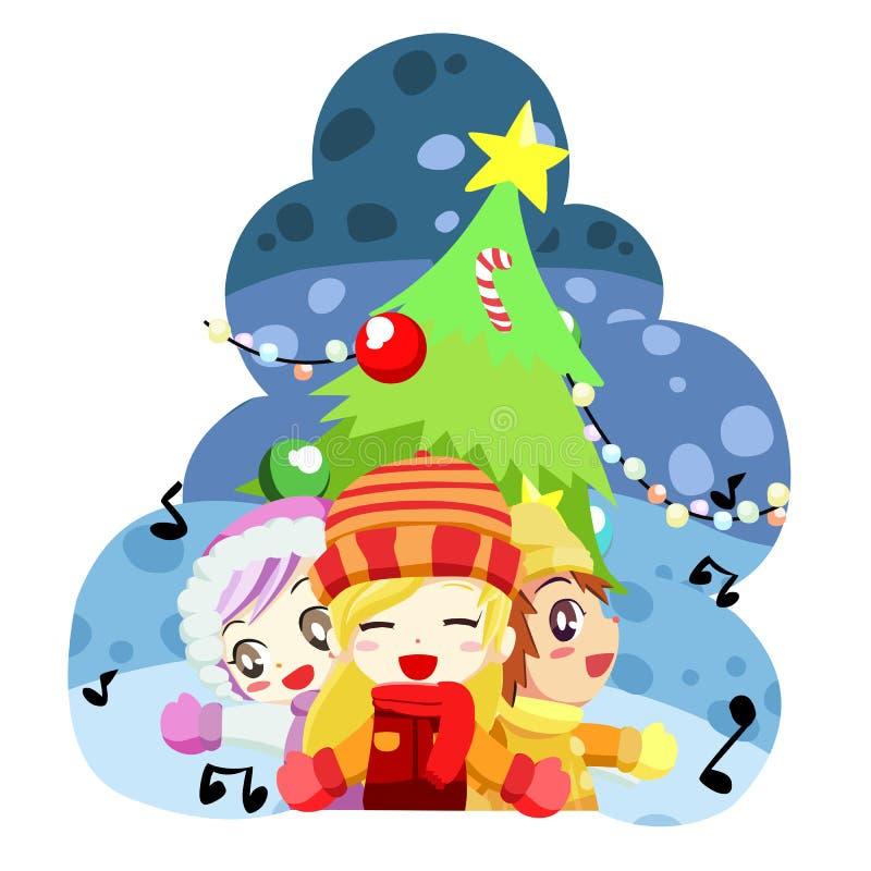 Cabritos cantantes de la Navidad - vector ilustración del vector