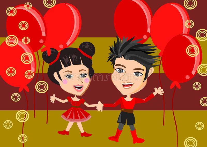Cabritos chinos stock de ilustración