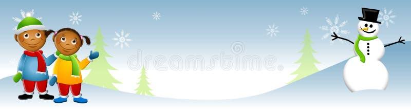Cabritos con el invierno 2 del muñeco de nieve stock de ilustración