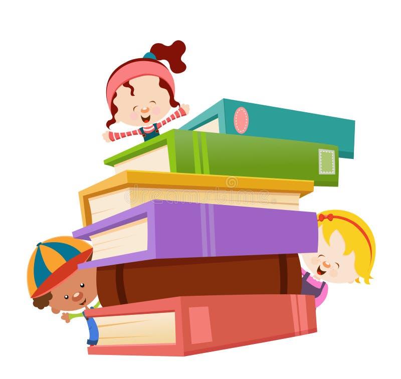Cabritos con los libros stock de ilustración