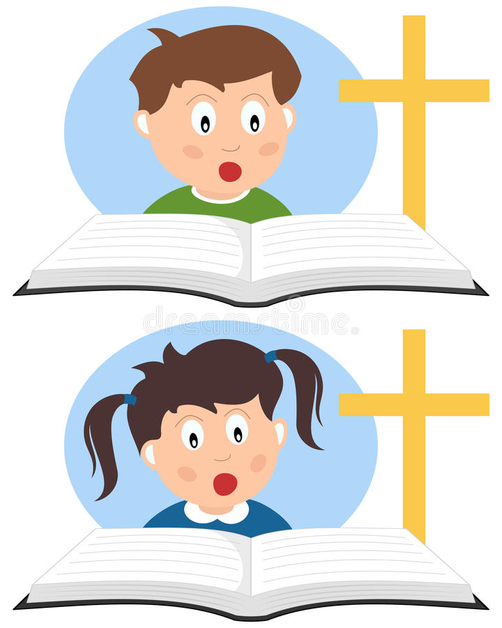 Cabritos cristianos que leen un libro libre illustration