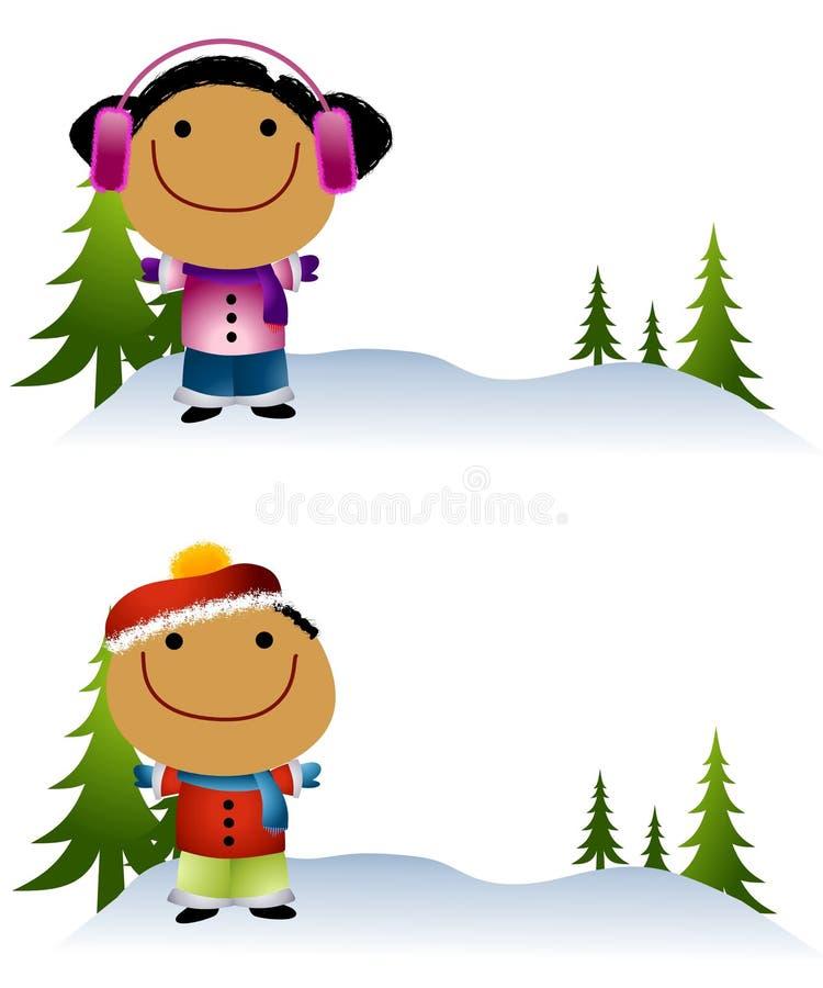 Cabritos de Cartoonish en la nieve 2 libre illustration