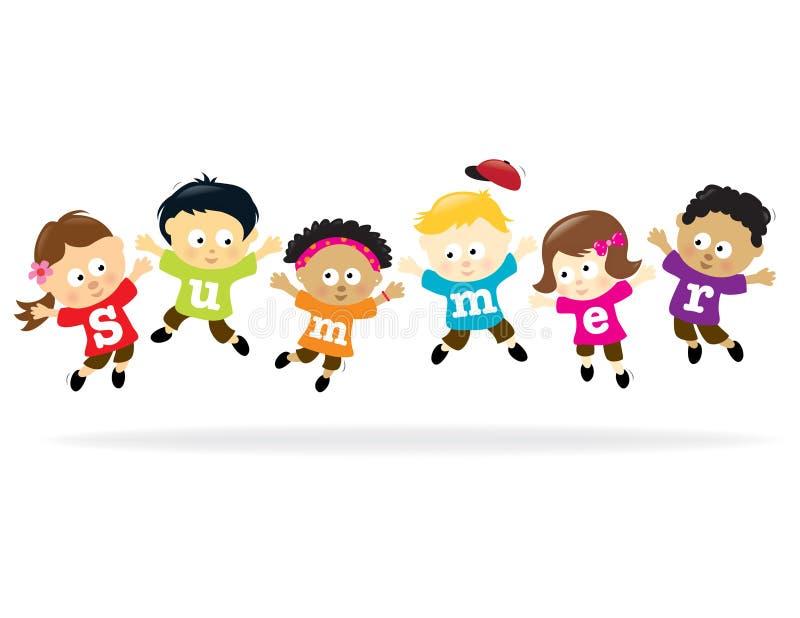 Cabritos de la diversión del verano - multi-ethnic ilustración del vector
