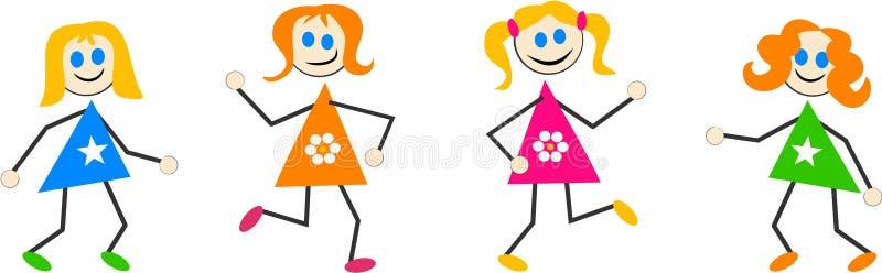 Cabritos de la muchacha ilustración del vector