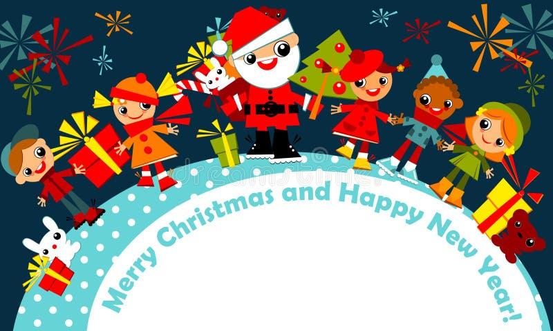 Cabritos de la Navidad. tarjeta de felicitación ilustración del vector