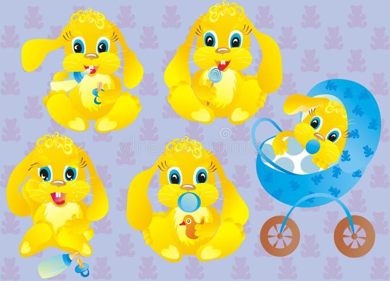Cabritos de los muchachos de un conejo en un fondo azul stock de ilustración