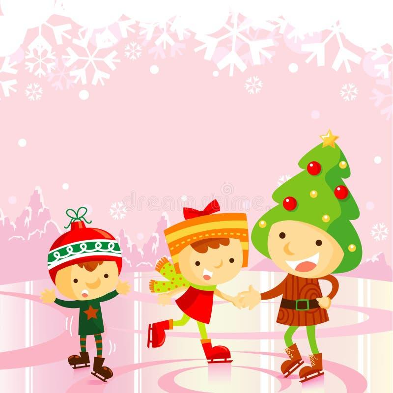 Cabritos del patinaje de hielo: día de fiesta de la Navidad ilustración del vector