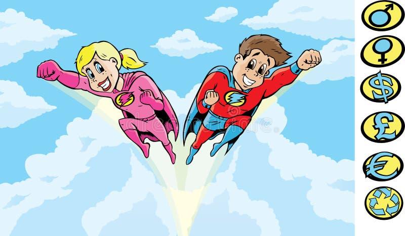 Cabritos del super héroe stock de ilustración