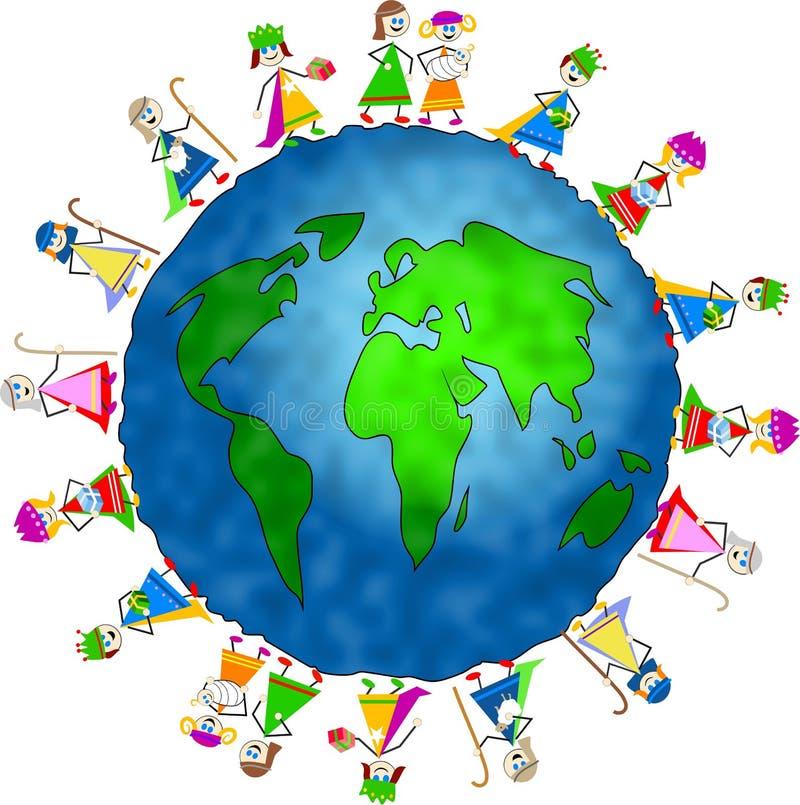 Cabritos globales de la natividad ilustración del vector