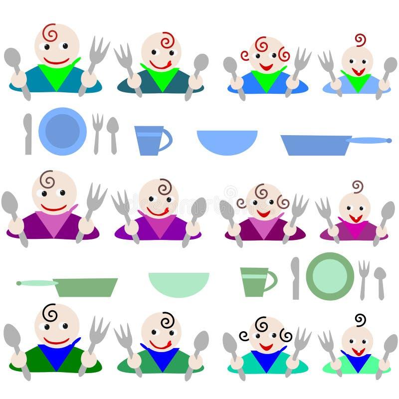 Cabritos hambrientos listos para la cena ilustración del vector