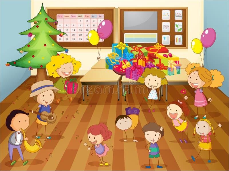 Cabritos que bailan en sala de clase stock de ilustración