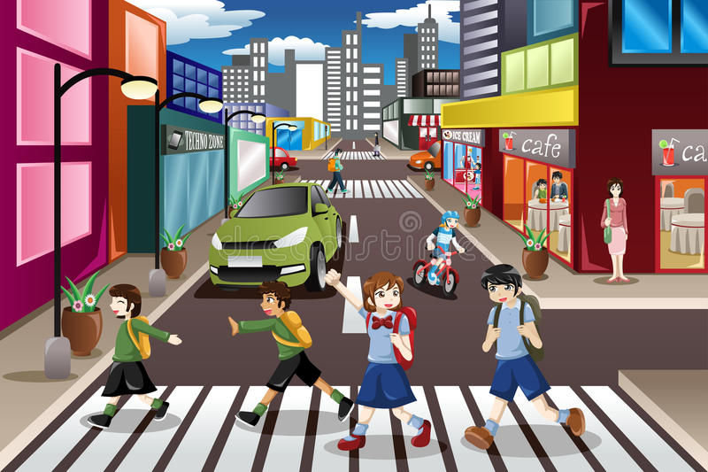 Cabritos que cruzan la calle ilustración del vector