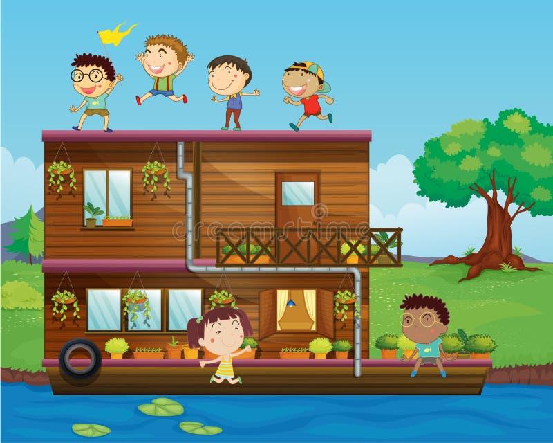 Cabritos que juegan cerca de una casa flotante ilustración del vector