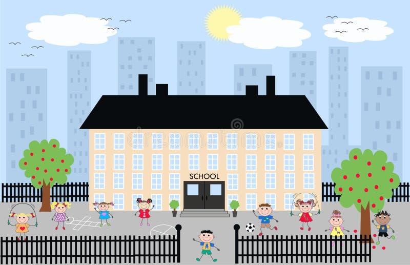 Cabritos que juegan en el patio de la escuela libre illustration