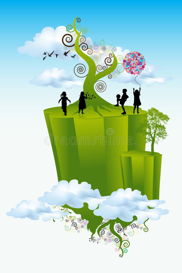 Cabritos que juegan en mundo verde libre illustration