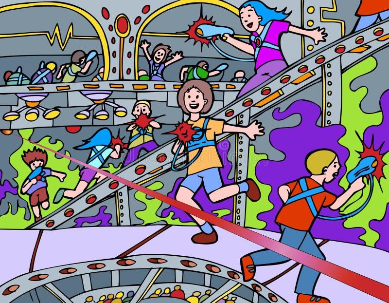 Cabritos que juegan la etiqueta del laser libre illustration