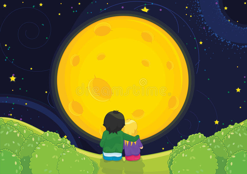 Cabritos que se sientan bajo ilustración del vector del claro de luna stock de ilustración