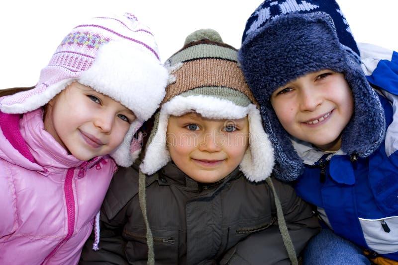 Cabritos vestidos para el invierno fotos de archivo