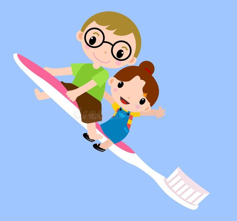 Cabritos y cepillo de dientes stock de ilustración