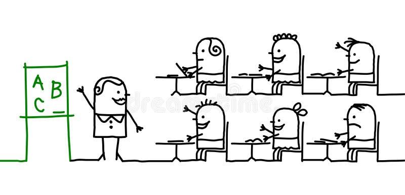 Cabritos y escuela ilustración del vector