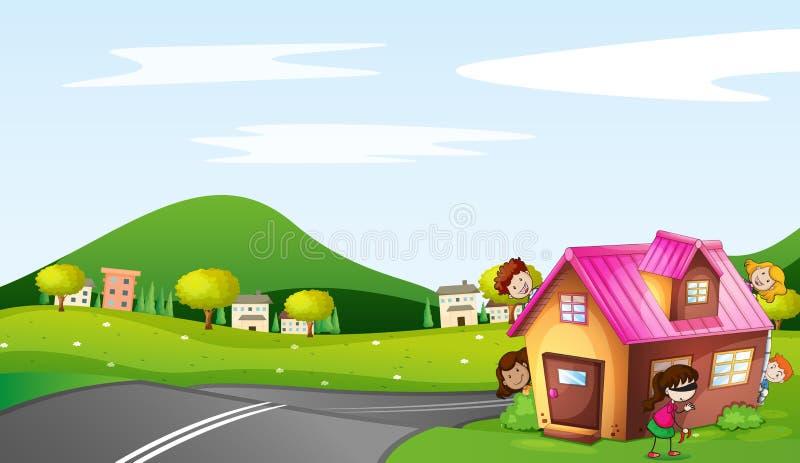Cabritos y una casa stock de ilustración